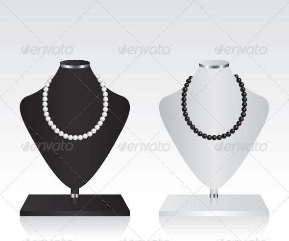 Black and White Mannequin Jewelry Stand - Objects Vectors
