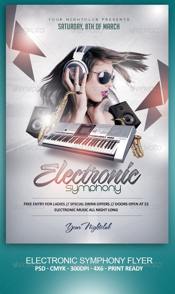 Electronic Symphony Flyer - Clubs & Parties Events