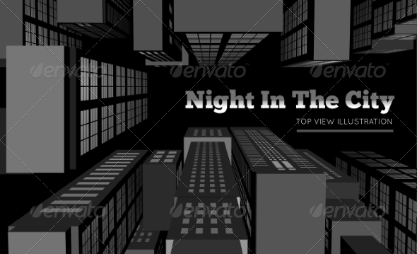 Night in the City Top View - Abstract Conceptual