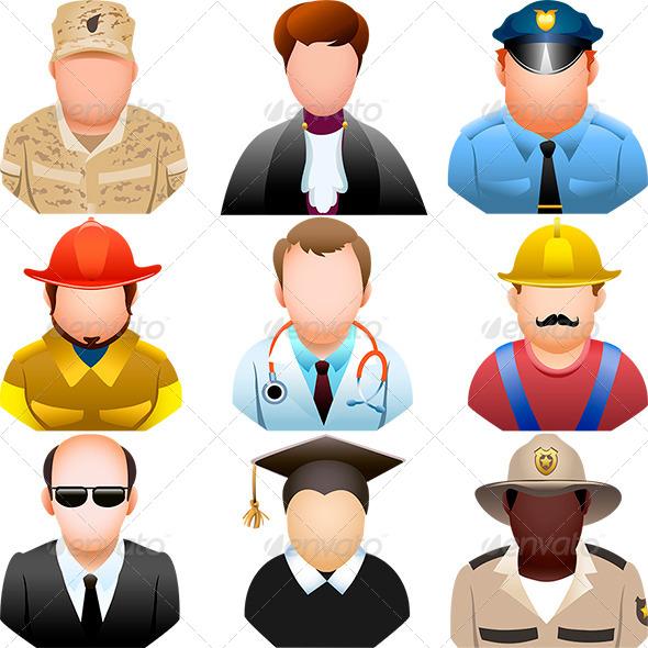 People in Uniform Icon Set - Characters Vectors