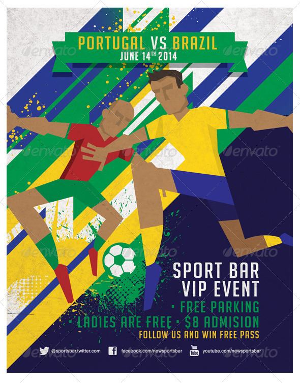 Dynamic Football Poster, Fully Editable. - Sports Events