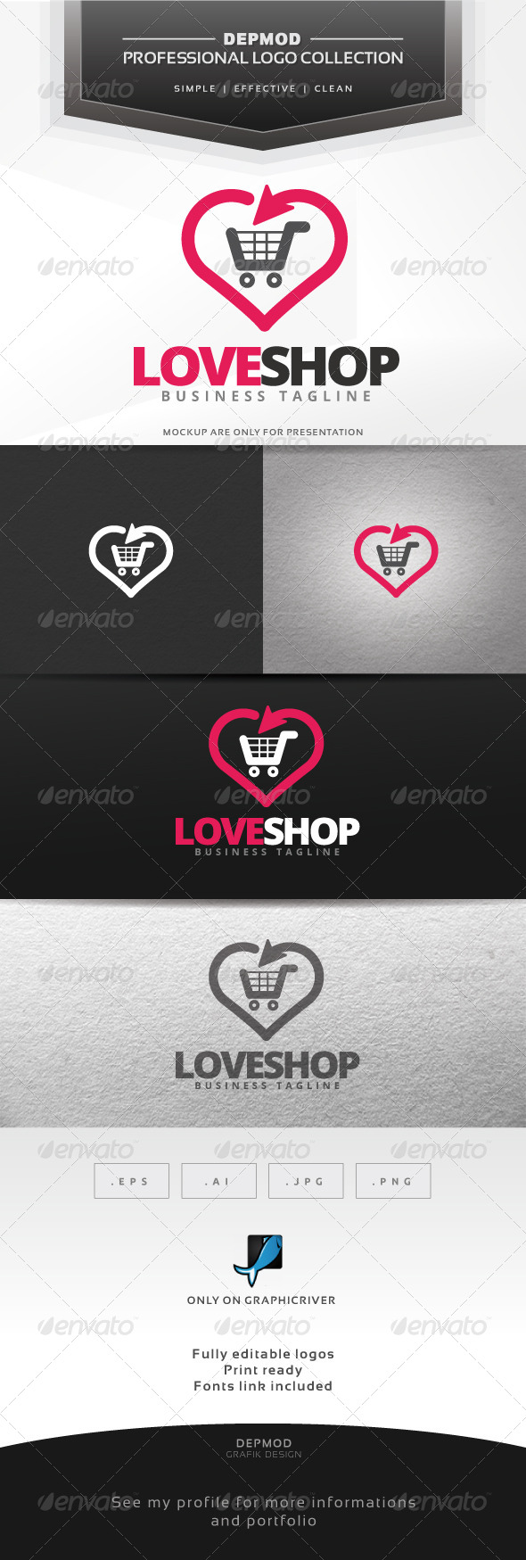 Love Shop Logo - Symbols Logo Templates