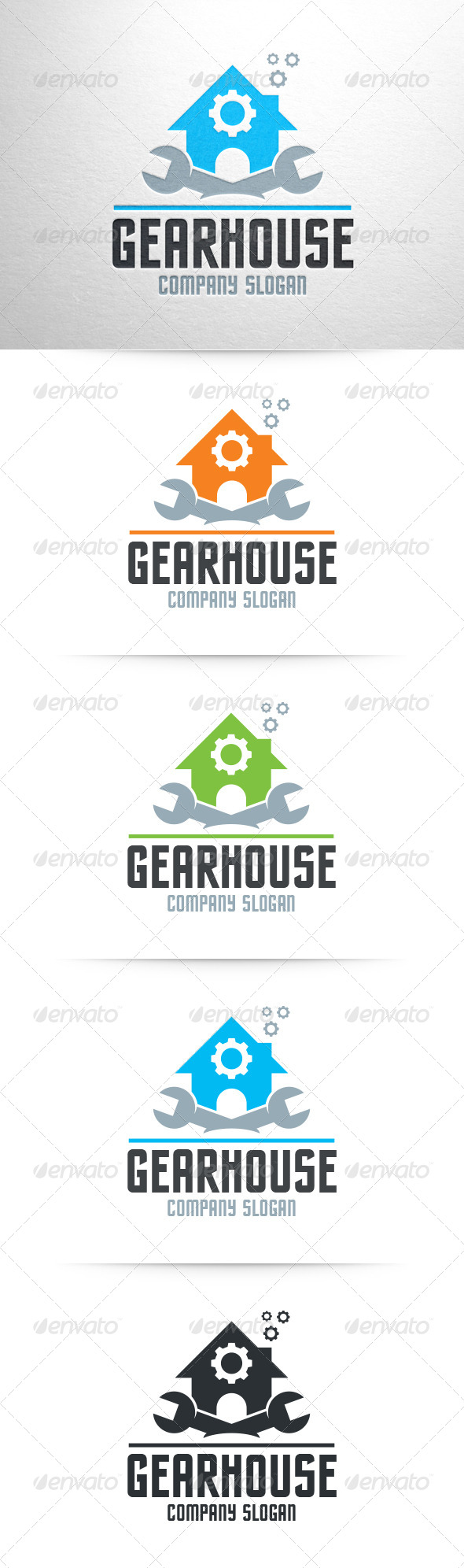 Gear House Logo Template - Objects Logo Templates