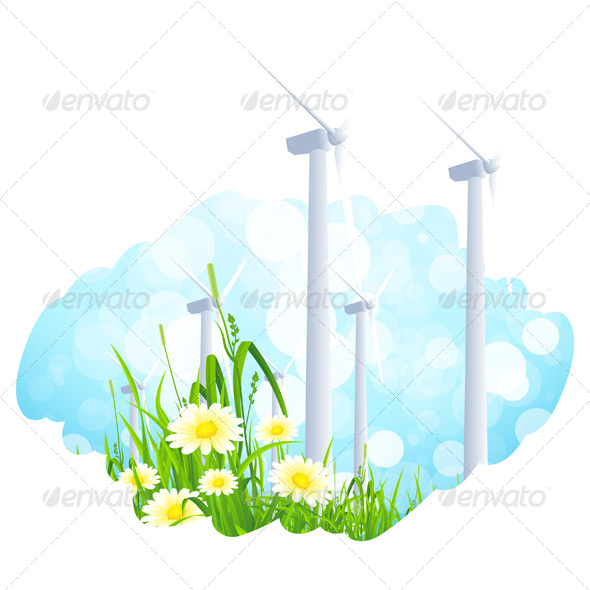 Background with Wind Power Plant and Flowers - Landscapes Nature