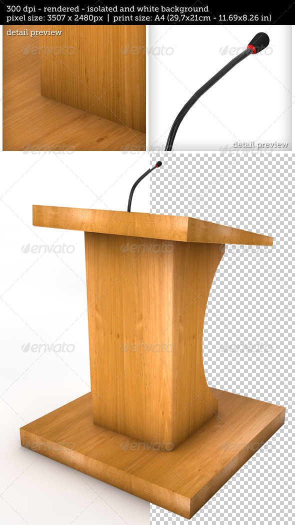 Tribune or Podium for Sermons Isolated - Objects 3D Renders