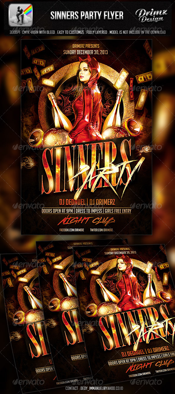 Sinners Party Flyer - Events Flyers