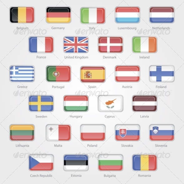 Flags of the EU Countries Icons - Travel Conceptual