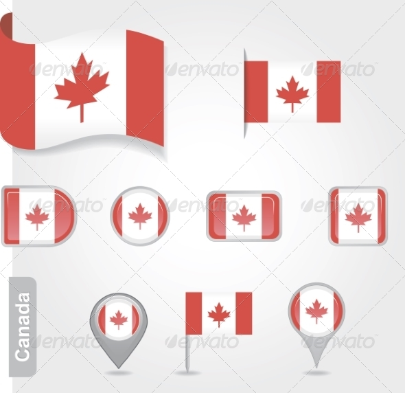 Set of Candadian Icons and Flags - Travel Conceptual
