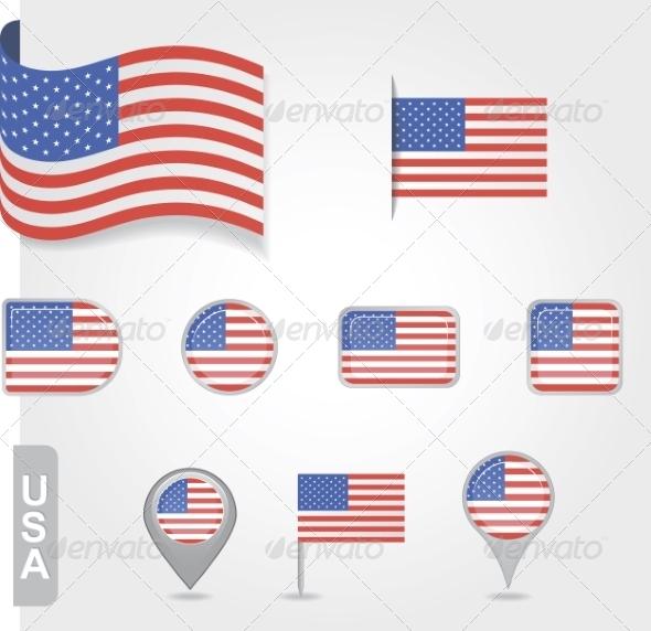 USA Flag Icon Set - Travel Conceptual