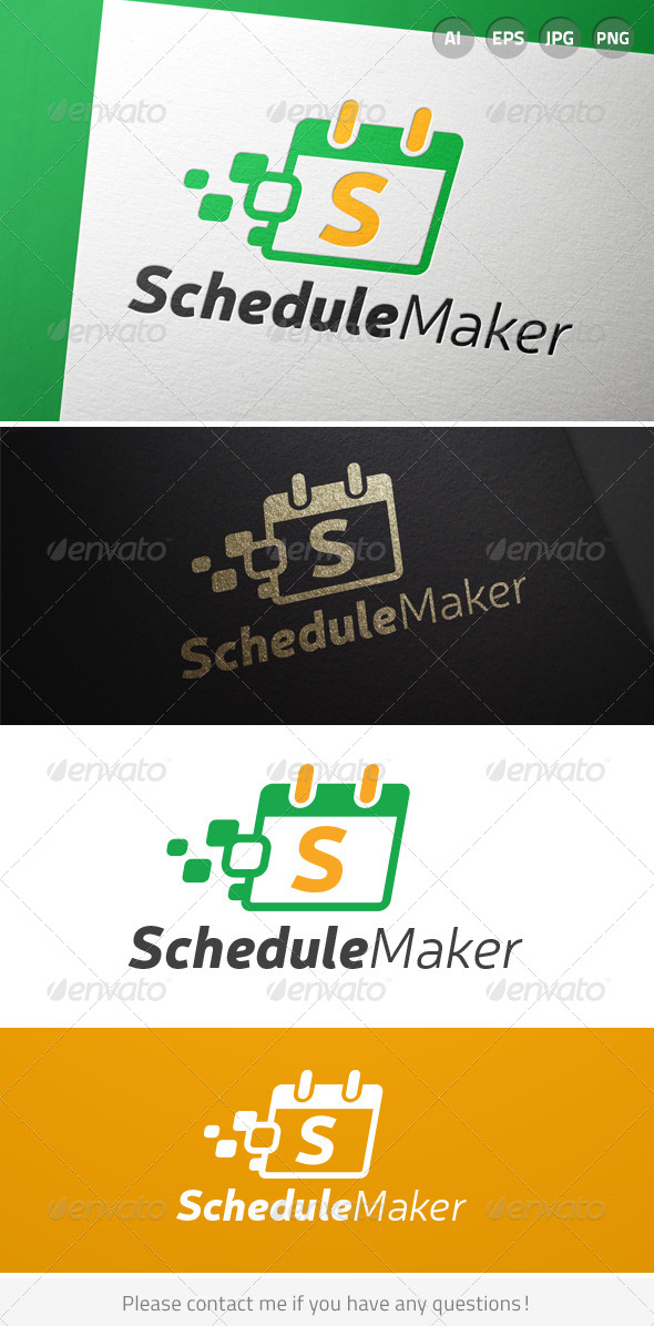 Schedule Maker Letter S Calendar Logo - Objects Logo Templates
