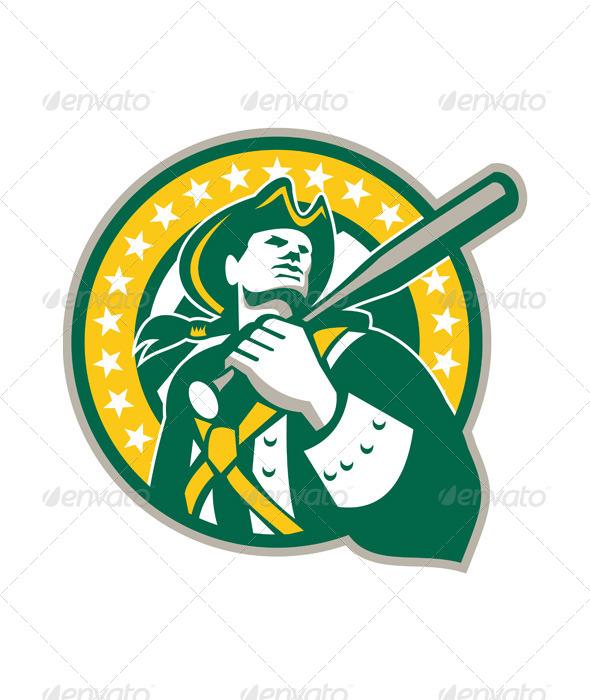 American Patriot Baseball Player Green Gold Retro - Sports/Activity Conceptual