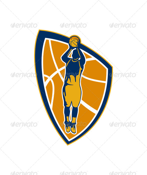 Basketball Player Jump Shot Retro Shield - Sports/Activity Conceptual