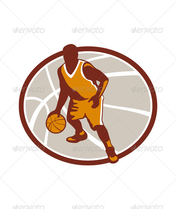 Basketball Player Dribbling Ball Oval Retro - Sports/Activity Conceptual