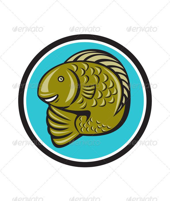 Trout Fish Jumping Circle Cartoon - Animals Characters