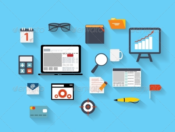 Business and Office Flat Icons Vector Ilustration - Web Technology