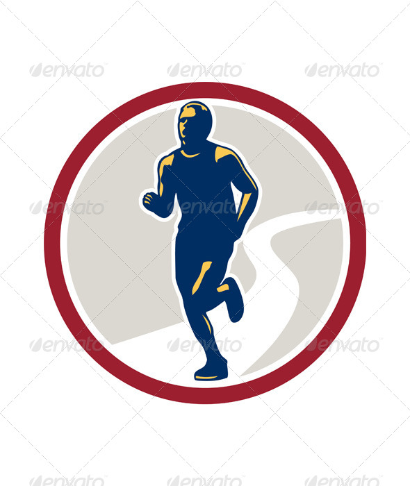 Marathon Runner Running Circle Retro - Sports/Activity Conceptual