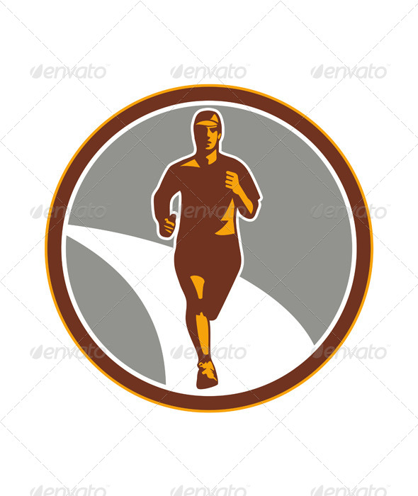 Marathon Runner Front Circle Retro - Sports/Activity Conceptual