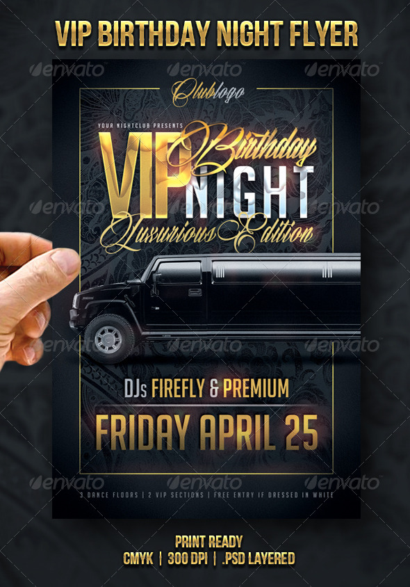 VIP Birthday Night Flyer - Events Flyers