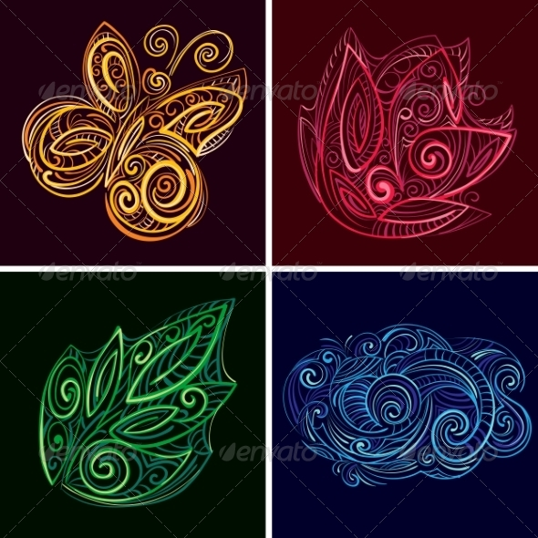 Set of Nature Icons - Decorative Symbols Decorative