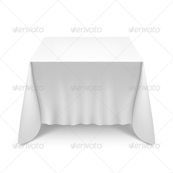 Table with White Cloth - Miscellaneous Vectors