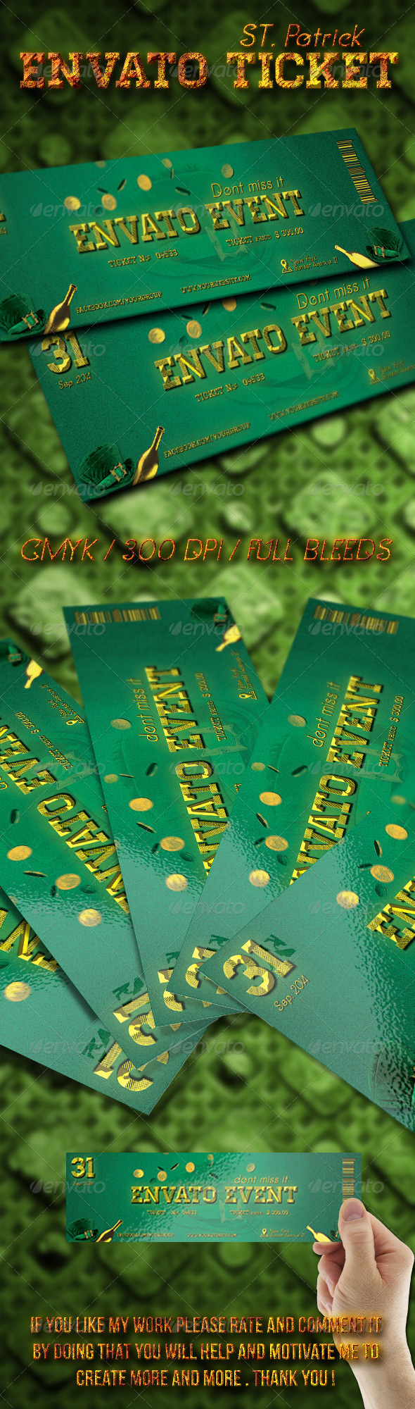 St. Patrick Ticket Template - Cards & Invites Print Templates