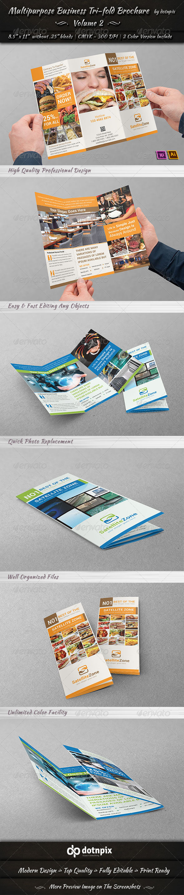 Multipurpose Business Tri-Fold Brochure | Volume 2 - Corporate Brochures
