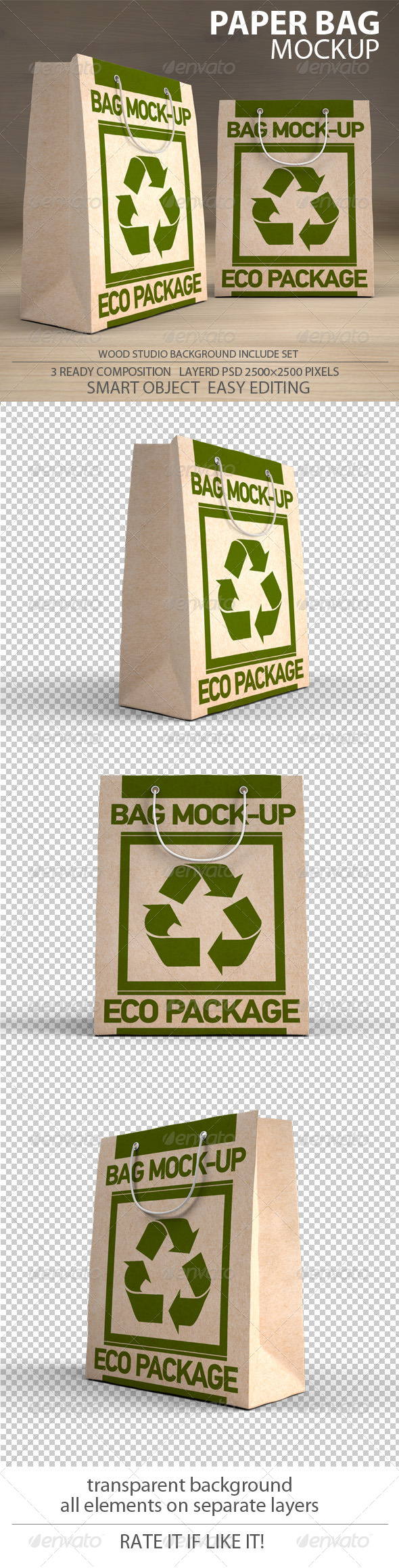 Paper Bag Mockup pack - Packaging Product Mock-Ups
