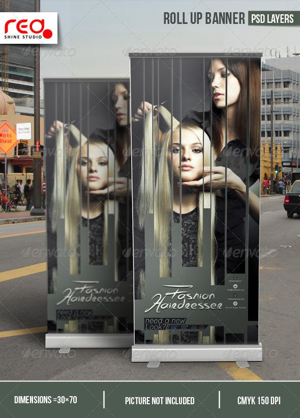 Hairdresser Salon Promotion Roll-up Banner - Signage Print Templates