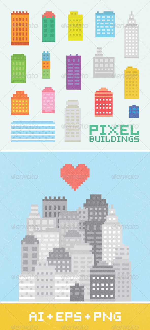Pixel Art City Set 1 - Buildings Objects