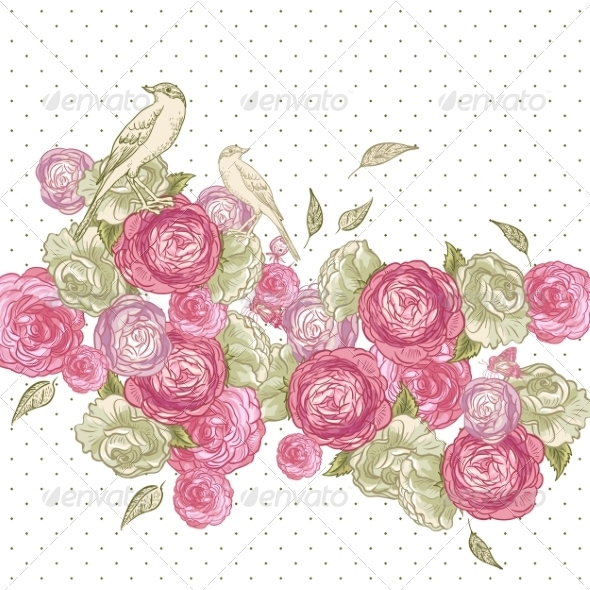 Rose Background with Birds and Butterflies  - Patterns Decorative