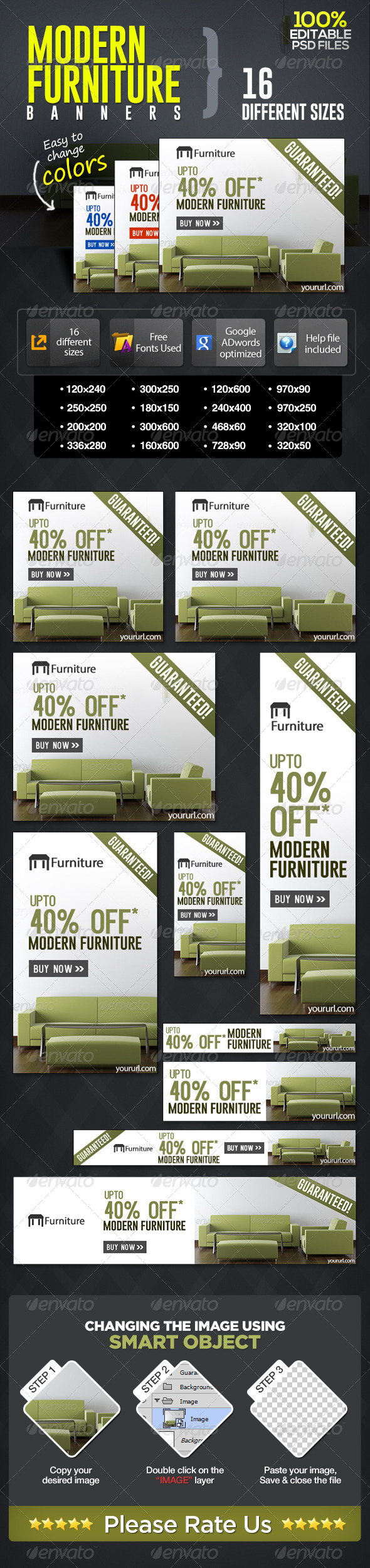 Modern Furniture Sale Banners - Banners & Ads Web Elements