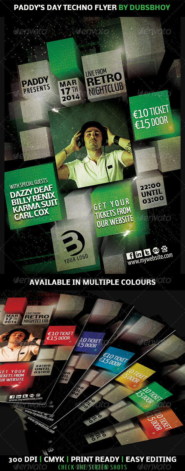Paddy's Day Techno Flyer - Flyers Print Templates