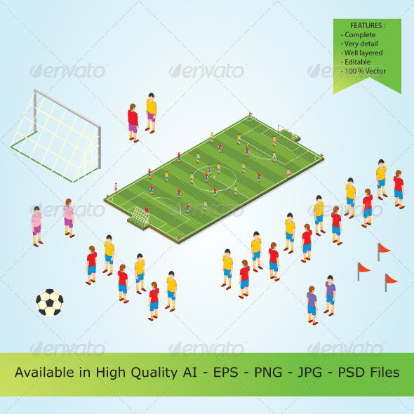 Isometric Football Players in Stadium - People Characters