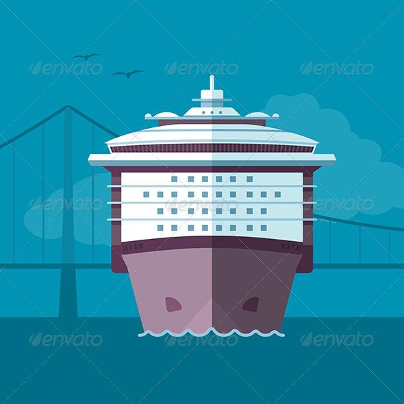 Flat Ship Illustration - Travel Conceptual