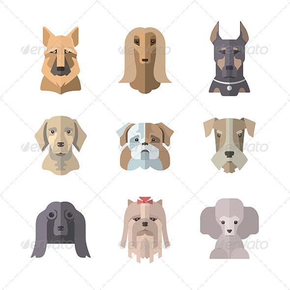 Collection Of Dog Icons In Flat Illustration Style - Animals Characters