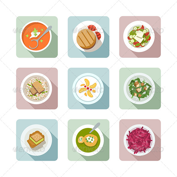 Vegetarian Cuisine. Flat Icons In Color - Food Objects
