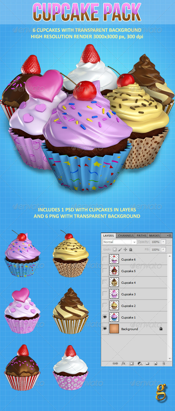 Cupcake pack - Objects 3D Renders