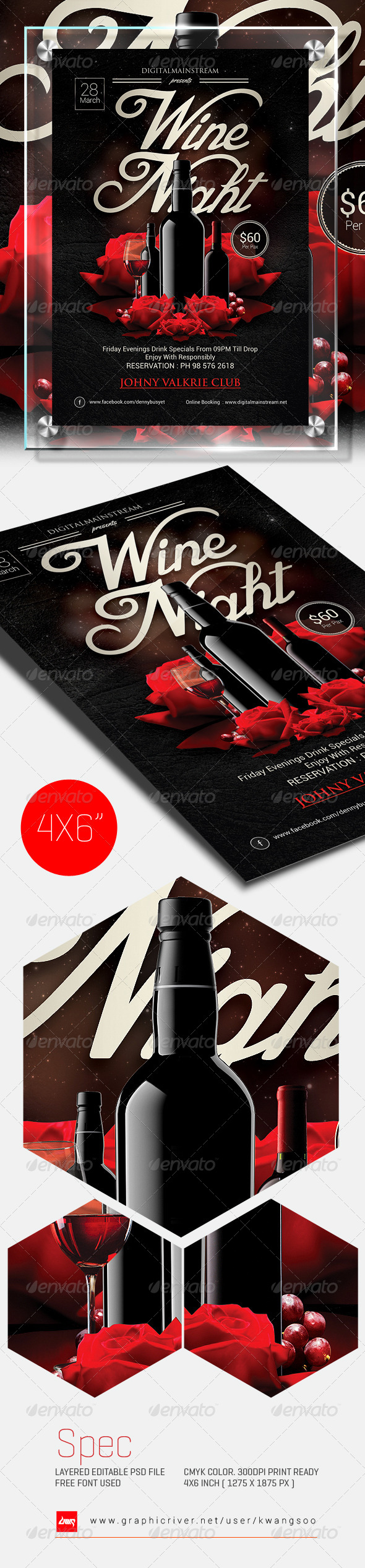 Wine Night Invitation Flyer Template - Events Flyers