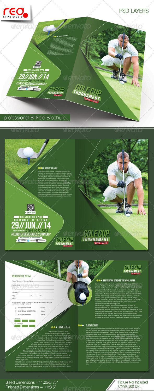 Golf Tournament Bi-fold Brochure Template - Corporate Brochures
