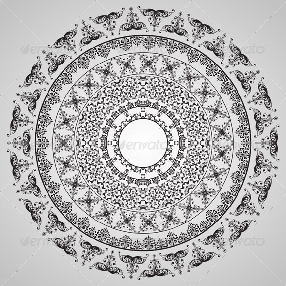 Vector  Rounded Vintage Floral Pattern - Decorative Vectors