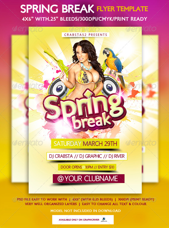 Spring Break Flyer Template By Crabsta  Graphicriver
