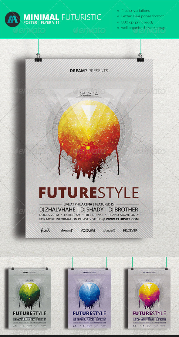 Minimal - Futuristic Poster | Flyer V.11 - Clubs & Parties Events