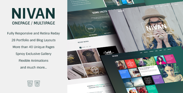 Nivan – One Page/Multi Page HTML Template