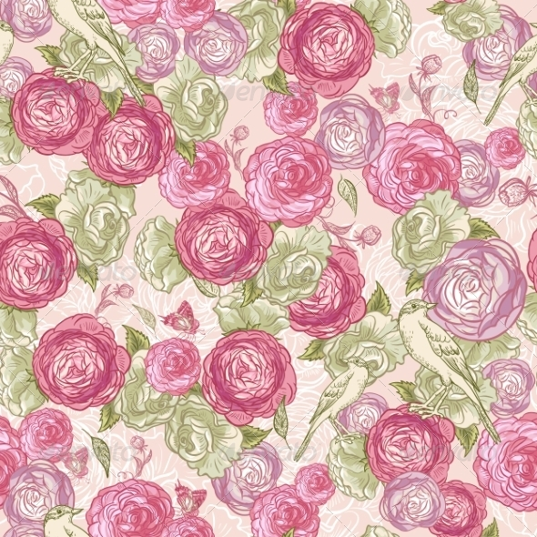 Rose Seamless Background with Birds - Patterns Decorative