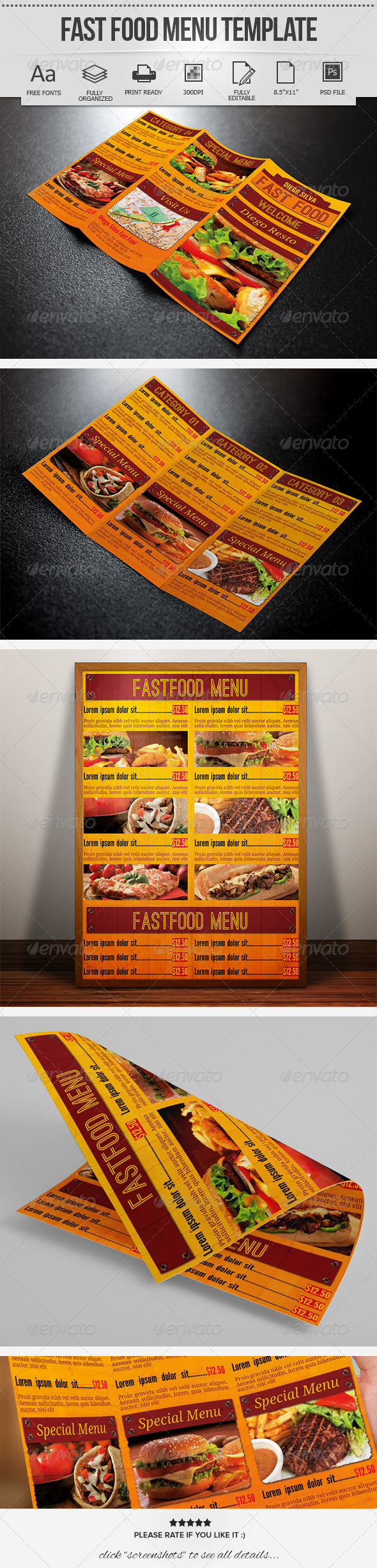 Fast Food Menu Template - Food Menus Print Templates