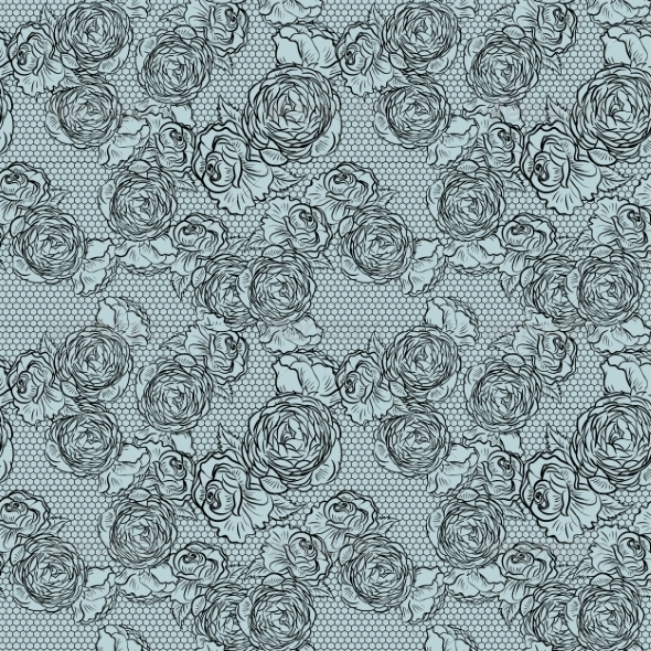 Vintage Monochrome Roses Pattern with Lace - Patterns Decorative