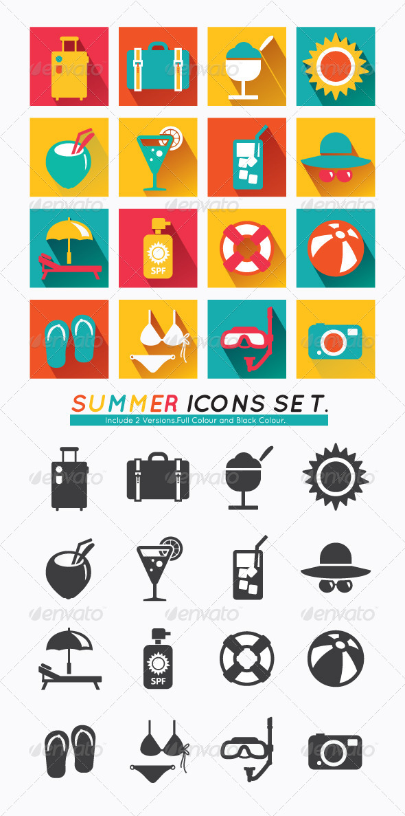 Summer Icons Set Modern Flat Icons. - Seasonal Icons