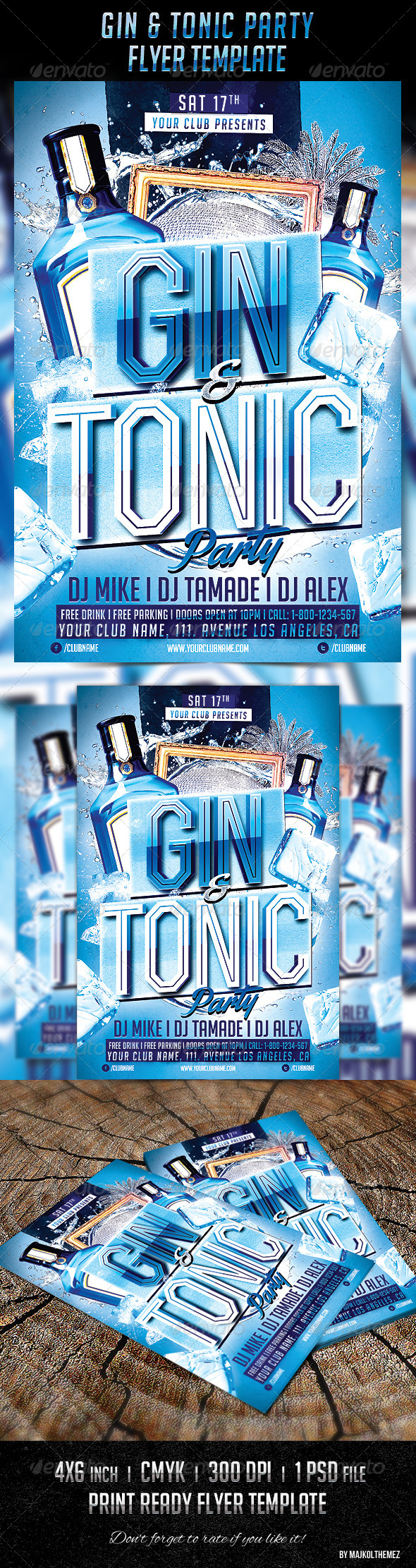Gin Tonic Night Party Flyer - Events Flyers