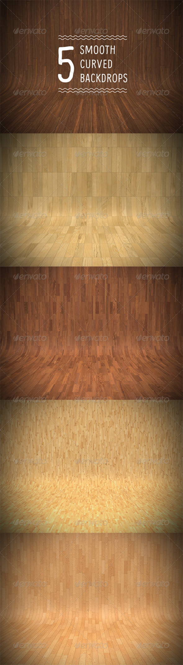Smooth Curved Wooden Backdrops - Product Mock-Ups Graphics