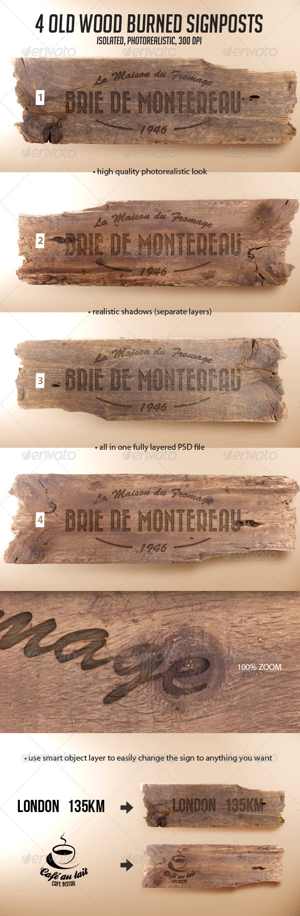 4 Old Wood Burned Signposts Boards Isolated Mockup - Miscellaneous Print